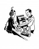 At The Checkout - Shopping - Retro Clip Art