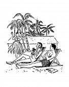 Vacation Paradise - Couple Relaxing In Tropical Setting