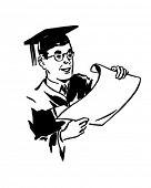 Male Grad With Diploma - Retro Clip Art