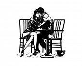 Romantic Embrace - Couple In Love - Retro Clip Art