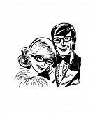 Bespeckled Teen Couple - Retro Clip Art