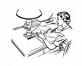 Lady At Desk Writing - Retro Clip Art