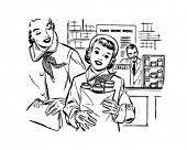 Mom And Daughter Shopping - Retro Clip Art