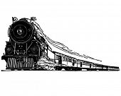 Steam Locomotive - Retro Clip Art