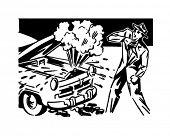 Car Trouble - Retro Clip Art