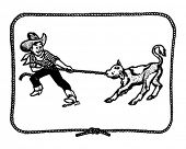 Cowboy Kid With Rope Border - Retro Clip Art