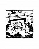 Fireside Chat - Retro Clip Art
