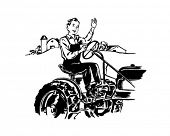 Man Driving Tractor - Retro Clip Art