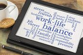 work life balance word cloud - word abstract on a digital tablet with a cup of coffee poster