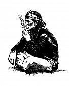 Indian Smoking - Retro Clip Art