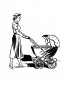 Lady Pushing Pram - Retro Clip Art