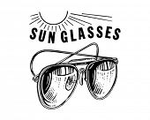 Mens Sunglasses With Sun - Retro Clip Art