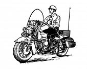 Motorcycle Cop - Retro Clip Art