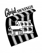 Colorful Awnings - Ad Header - Retro Clip Art