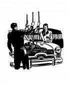 Overhaul Job Or New Battery - Retro Clipart Illustration