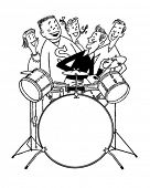 Teens With Drum Set - Retro Clipart Illustration