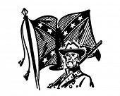 Confederate With Flag - Retro Clipart Illustration