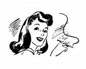 Dame mit Zigarettenspitze - Retro Clipart Illustration