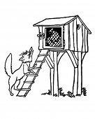 Fox At The Chicken Coop - Retro Clipart Illustration