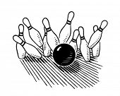 Ten Pin Bowling - Retro Clipart Illustration
