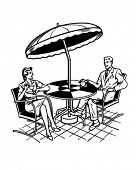 Couple Sitting On Patio - Retro Clipart Illustration