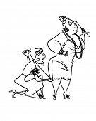Seamstress Sewing Hem - Retro Clipart Illustration
