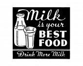 Milk Is Your Best Food - Retro Ad Art Banner