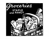 Groceries Staple And Fancy - Retro Ad Art Banner