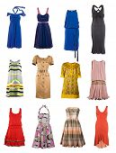collection of female color fashion dress