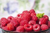 Fresh  Raspberries In Vintage Basket, Vitamins, Healthy Food, Ve poster