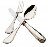 silver spoon fork knife isolated
