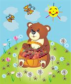 picture of gift basket  - Bear with a basket on the meadow - JPG