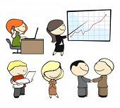 set of office workers in different situations
