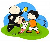 Fight at a football (soccer) field. Yellow card