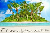 Whole Tropical Island Within Atoll In Tropical Ocean And Inscription timeshare In The Sand On A Tr poster