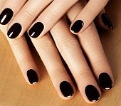 Manicured Nails With Black Nail Polish. Manicure With Dark Nailpolish. Fashion Art Manicure With Shi poster