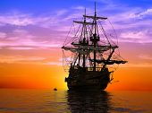 picture of pirate ship  - The ancient ship in the sea - JPG