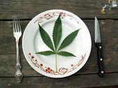 Hemp Leaf On A Plate
