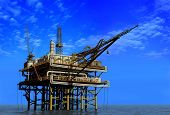 stock photo of rework  - Dabycha oil into the sea from above - JPG