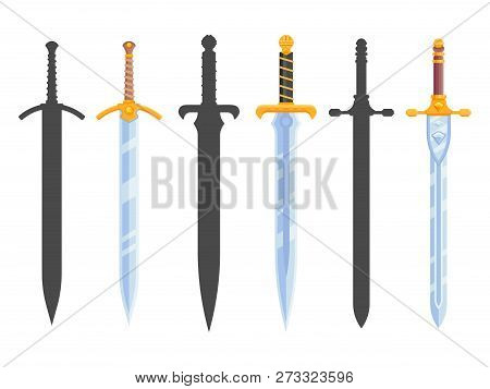Set Of Knight Swords Isolated