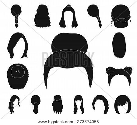 Female Hairstyle Black Icons In