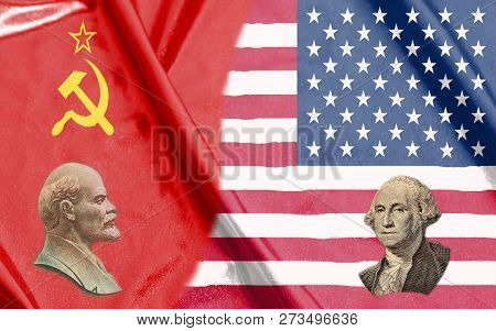 Usa And Ussr Half Flags