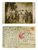 RUSSIAN EMPIRE - CIRCA 1917: A post card printed in Russian Empire shows Roman women in park, circa