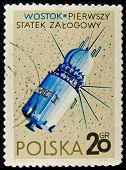 POLAND - CIRCA 1966: A stamp printed in Poland shows first Russian spaceship Vostok, circa 1966