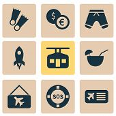 Trip Icons Set With Lifebuoy, Picture Airplane, Flippers And Other Lifeguard Elements. Isolated  Ill poster