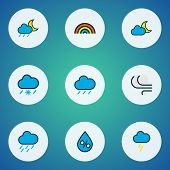 Climate Icons Colored Line Set With Thunderstroke, Frosty, Moonbeam And Other Rainbow Elements. Isol poster