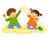Naughty Boy Throwing Sand At A Little Girl In The Sandbox poster