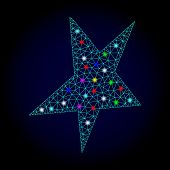 Glossy Polygonal Mesh Asymmetrical Star Icon With Glare Effect On A Dark Background. Carcass Asymmet poster