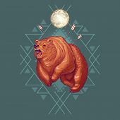 Furious Werebear Cartoon Vector Illustration With Geometrical Ornament And Aggressive Grizzly Bear W poster
