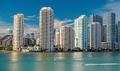 Miami Skyline Skyscrapers , Yacht Or Boat Next To Miami Downtown, Aerial View, South Beach poster
